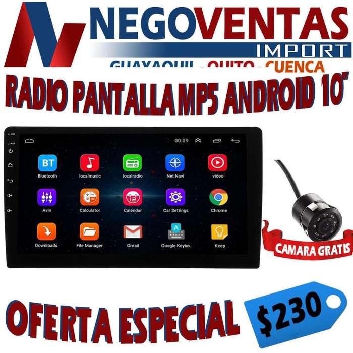 RADIO PANTALLA MP5 ANDROID DE 10 PULGADAS INCLUYE CÁMARA DE RETRO GRATIS OFERTA 230.00