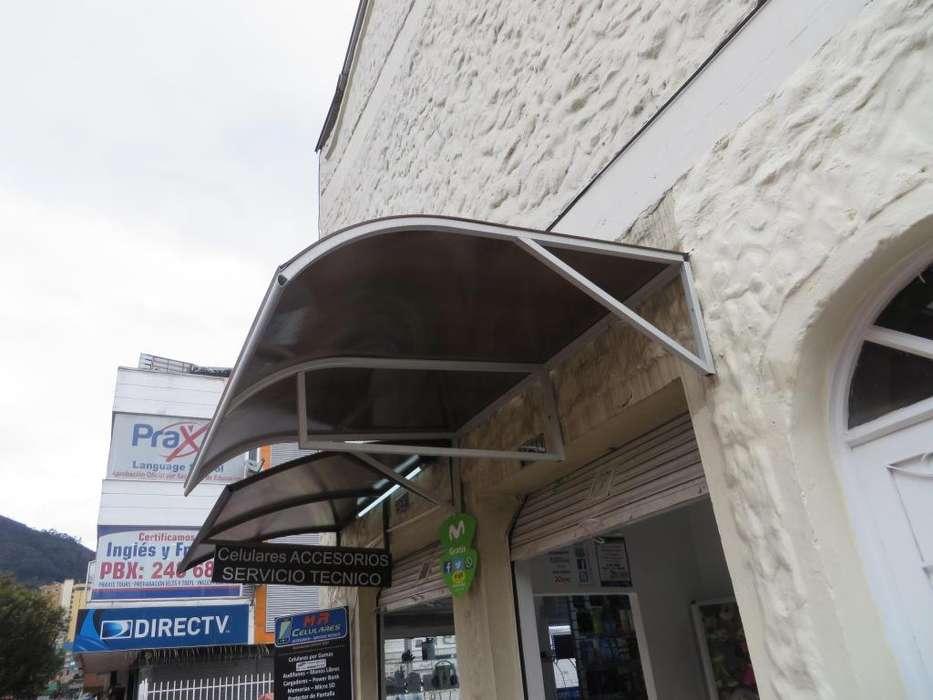 Alero Parasol De Puerta Cornisa Aluminio Curvo Y Policarbonato
