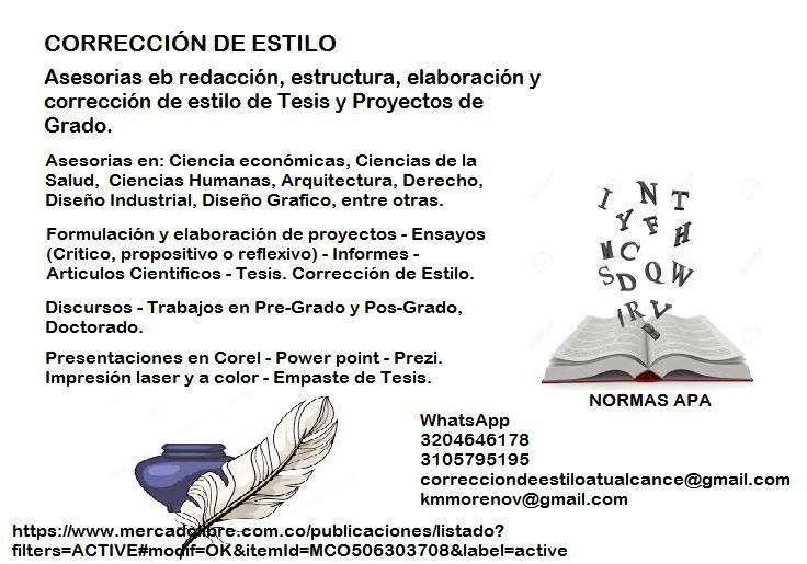Asesorias Correccion De Estilo Tesis De Grado Libros