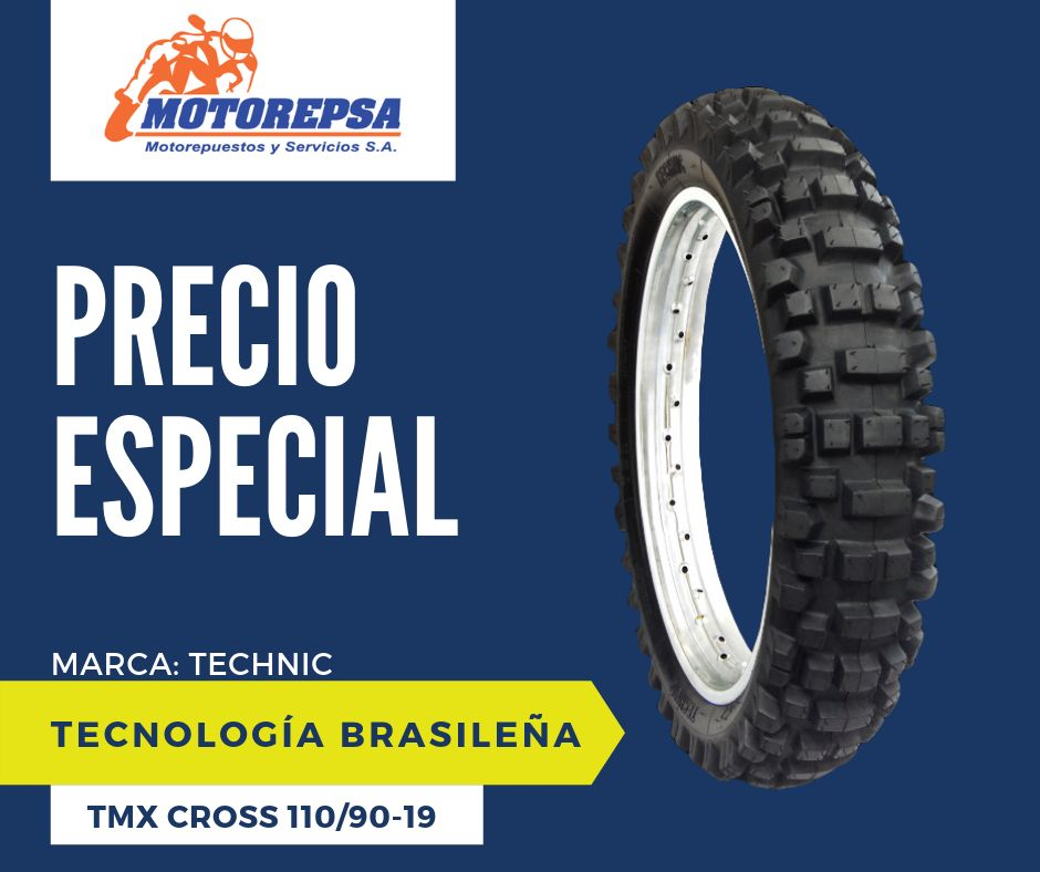 Llanta TECHNIC TMX CROSS 110/90 19 para Moto HONDA CRF250/450, YAMAHA YZ 450F