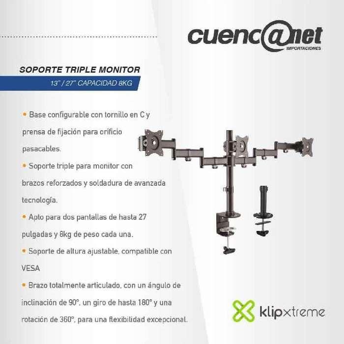 "Soporte Triple <strong>monitor</strong> Klip Xtreme 13"" 27"" Capacidad 8Kg"