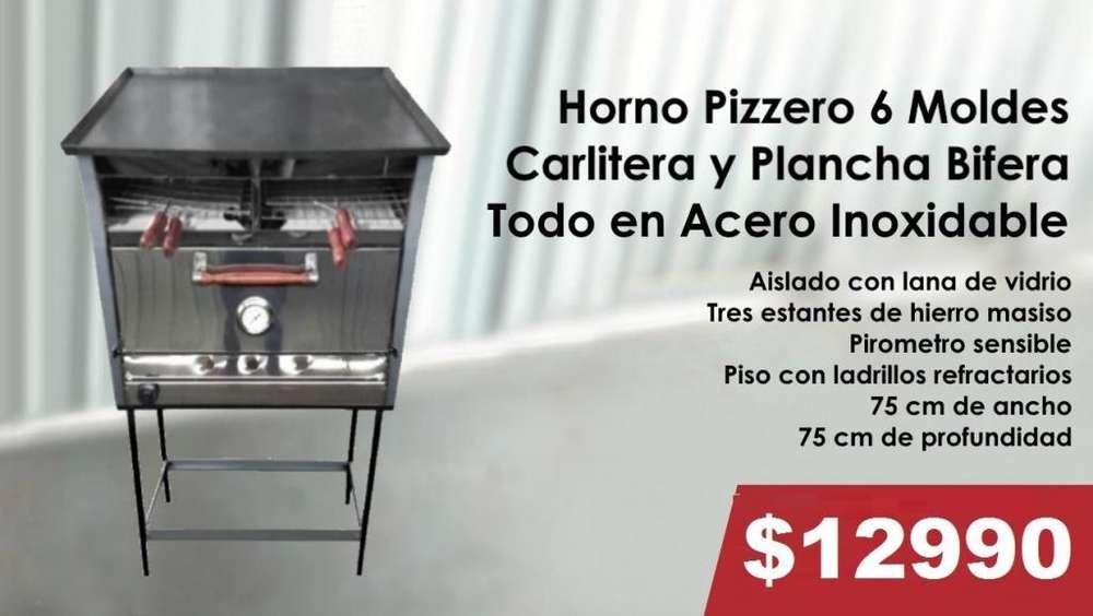 HORNO PIZZERO DE 6 MOLDES CON CARLITERA Y PLANCHA TODO EN ACERO INOXIDABLE