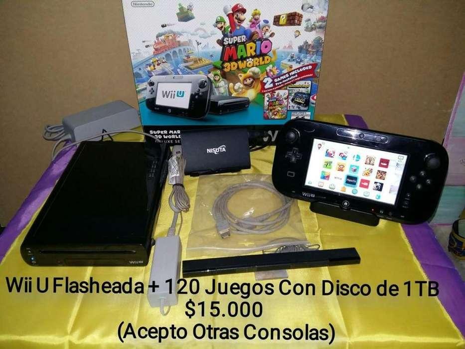 Nintendo Wii U con 121 Juegos Flasheada Disco 1TB