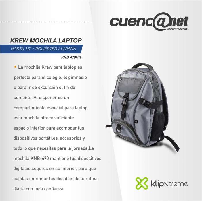 "Krew Mochila Laptop 16"" Poliester Klip Xtreme Knb 470Gr"