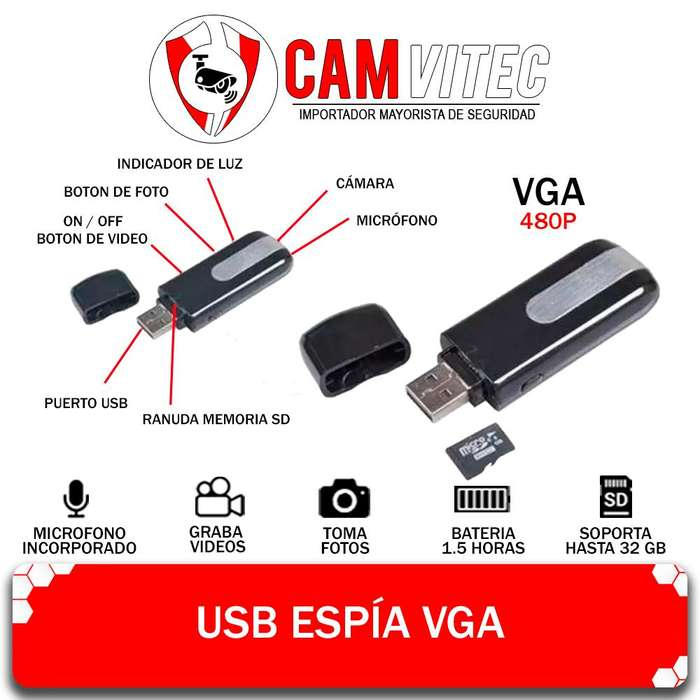 Usb Pendrive Camara Espia Vga 480p Audio Video Oculto 32gb