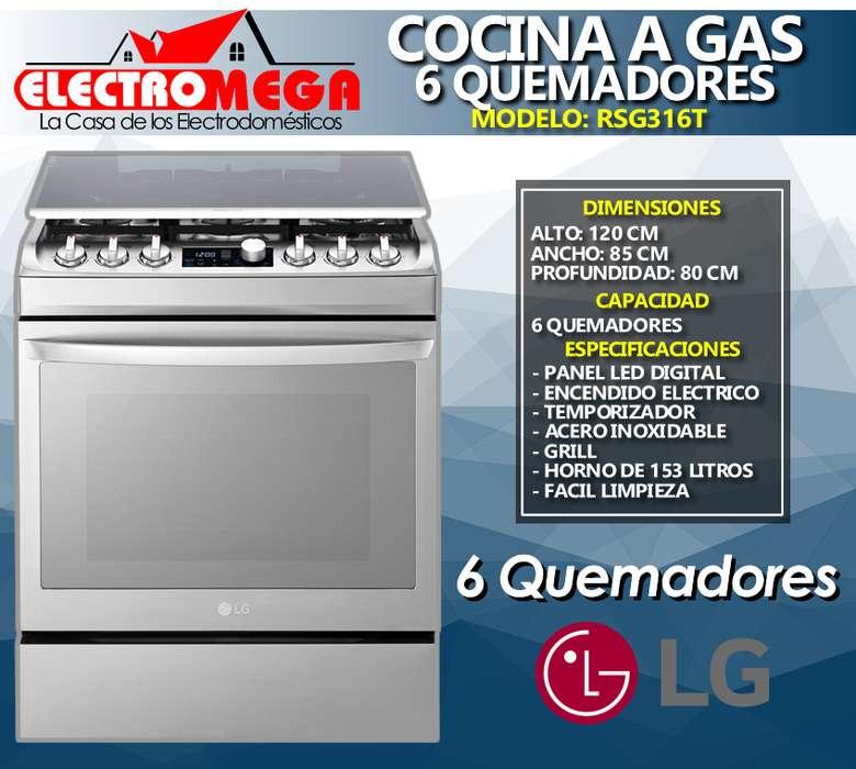 <strong>cocina</strong> A Gas Lg 6 Quemadores Acero Inox 85cm Grill Rsg316t