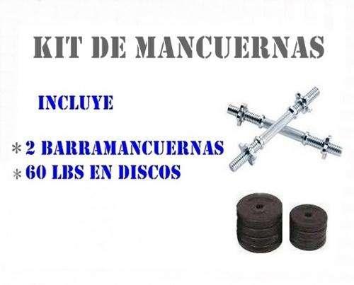 SET Mancuernas MAS OBSEQUIO: 2 Barra Mancuernas mas 60 Lbs De Peso En Discos !!!TOTALMENTE NUEVO!!!!!!