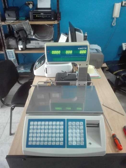 Balanza Kretz Report con conexión a PC impresor térmico para etiquetas y ticket.