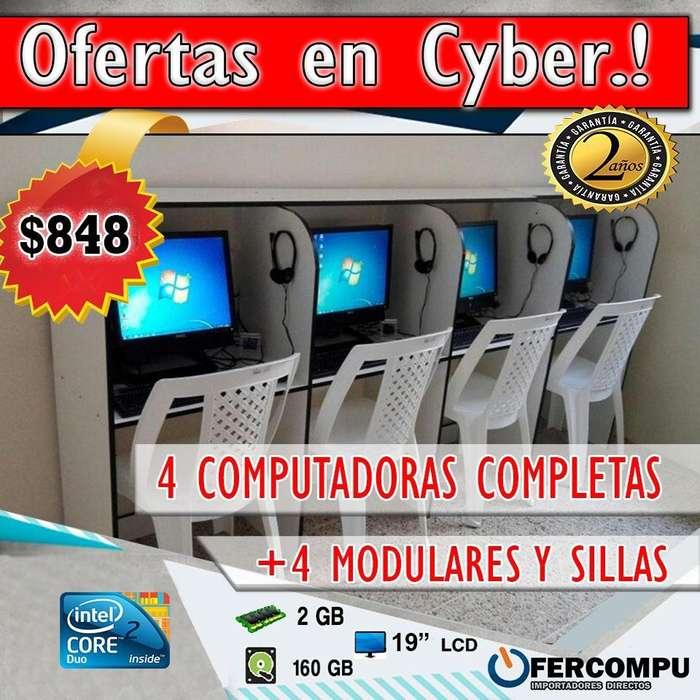 CYBER ECONÓMICO DE 4 COMPUTADORAS COMPLETAS POR 848 GARANTÍA DE 2 AÑOS