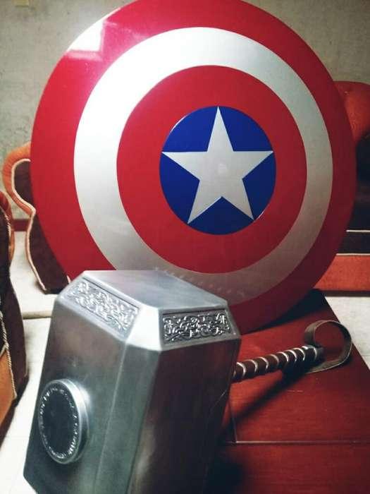 Escudo Cap América. Martillo Thor Mjolni