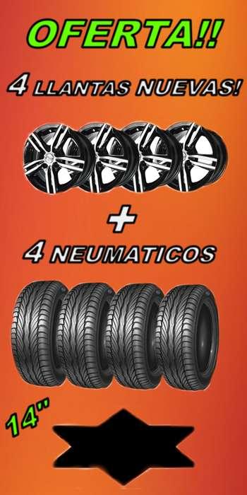 Mira que ofertas.4 Llantas NUEVAS con 4 <strong>neumatico</strong>s valvuals y balanceos · 22.970
