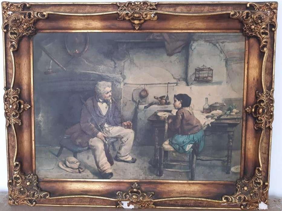 Cuadro Antiguo Oleo Marco en Madera