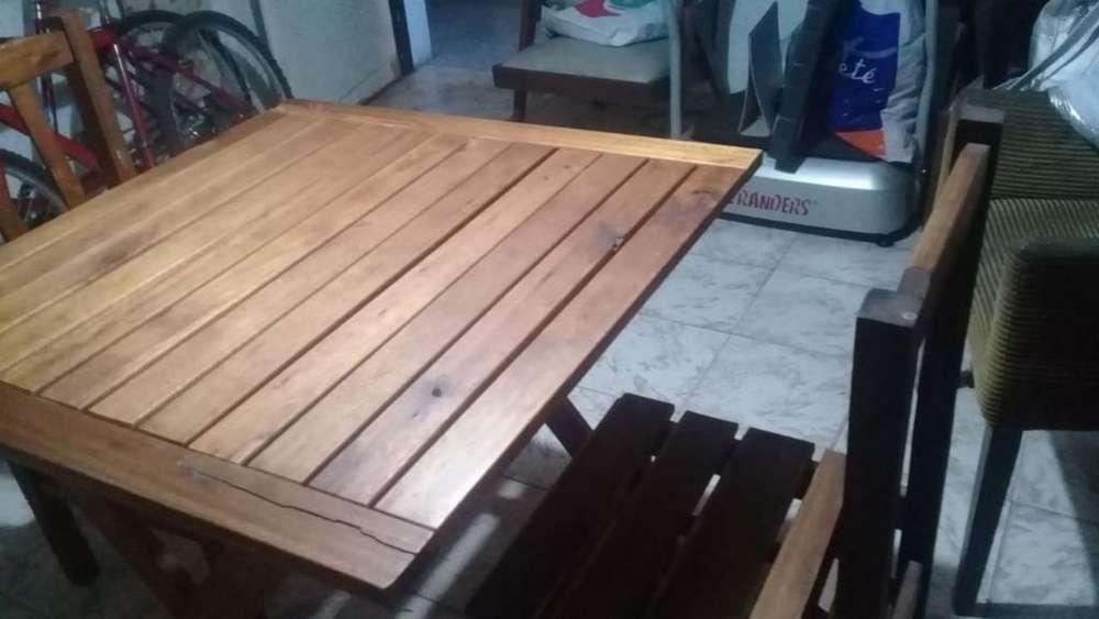 Mesa de Madera con 2 <strong>silla</strong>s