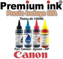 Tinta Canon Kit 4 Colores 100ML E401 E402 E471 MX492 Ip2810 Mg2510 Mg2910 G2100 G3100 PRECIO INCLUYE IVA