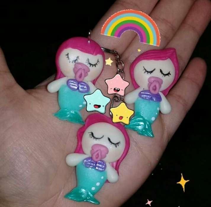Llaveros Mini Sirenitas para Baby Shower