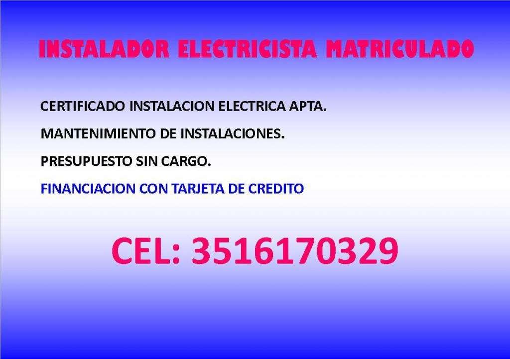 INSTALADOR ELECTRICISTA MATRICULADO