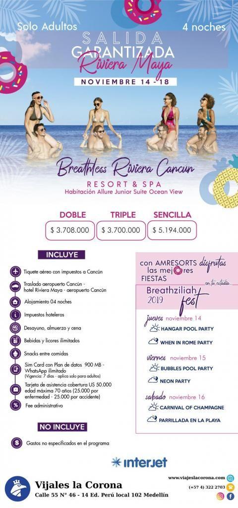 Viaje como un Rey a Cancún  BREACTHLESS RIVERA CANCÚN con Viajes la Corona