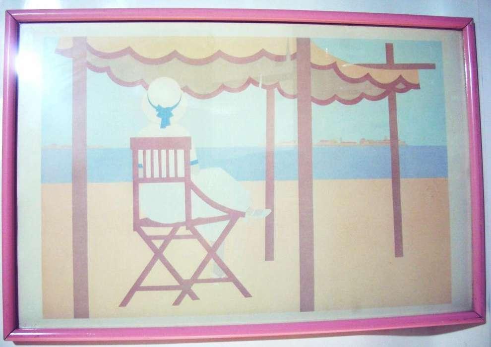 Cuadro Vintage Paisaje De Playa Marco Rosa