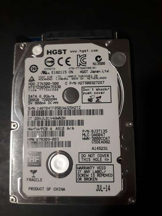 Disco Duro 500 Gb, Hgst