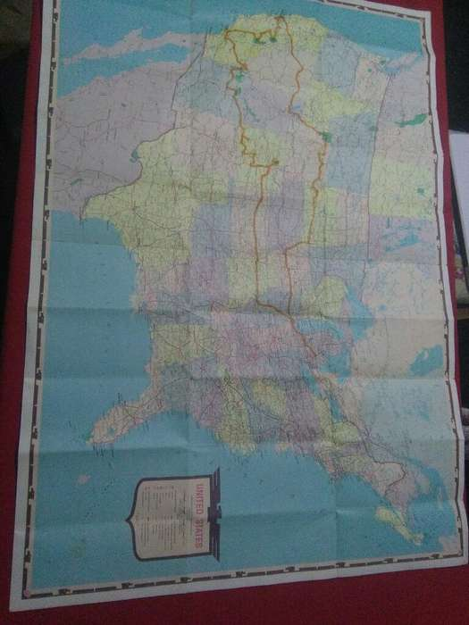 Antiguo y gran Mapa de Estados Unidos Usa 1968 AAA rutas
