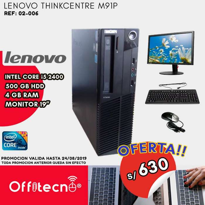 COMPUTADORA COMPLETA LENOVO THINKCENTRE M91P, INTEL CORE I5 2400, 4 GB RAM, 500 GB HDD