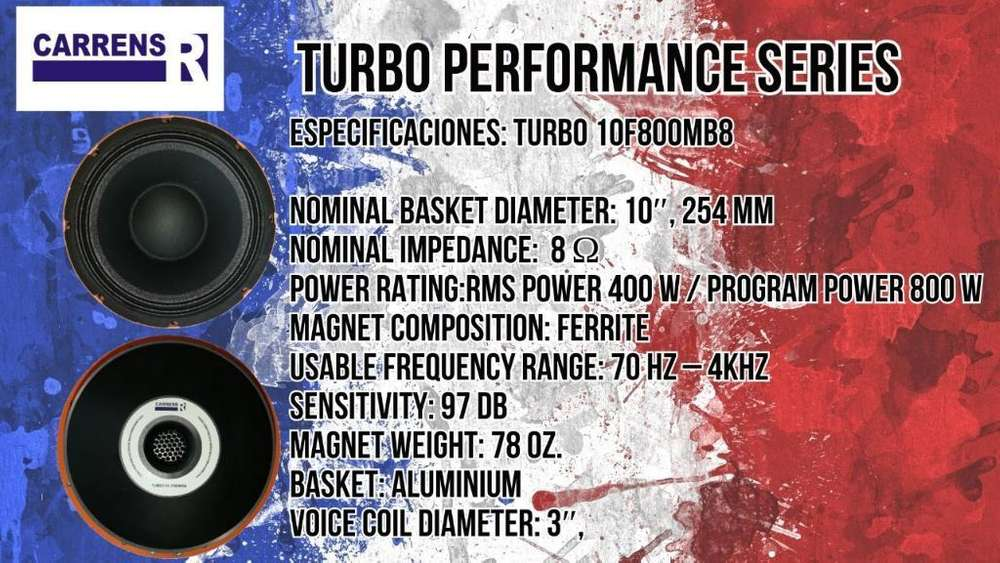 parlante Profesional de 10 diez pulgadas CARRENS medio bajo TURBO 10f800MB8