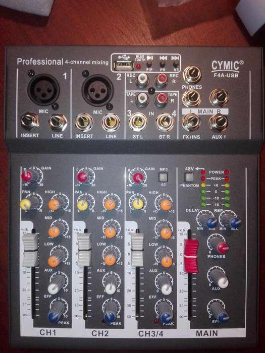 consola mixer 4 canales,USB,<strong>mp3</strong>,Efectos.Nueva en su caja
