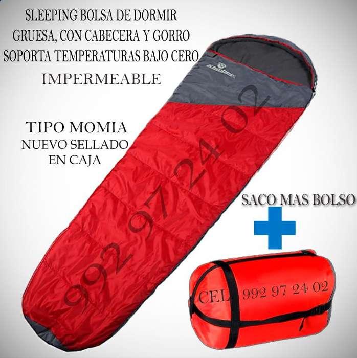 Sleeping saco bolso de dormir grueso tipo momia Pro, ideal para climas extremos