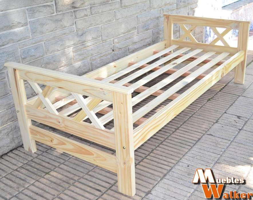 Diván cama de 1 plaza en pino macizo