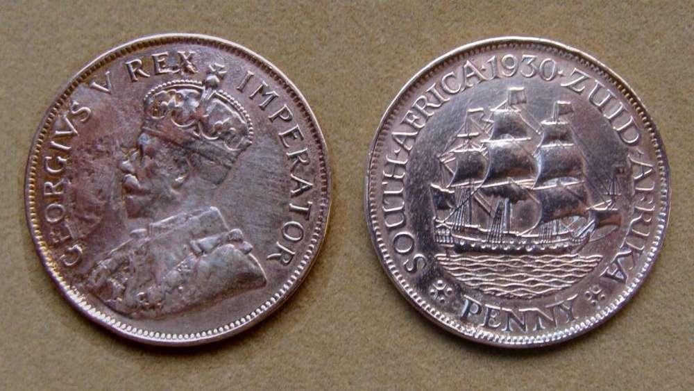 Moneda de 1 penique Sudáfrica año 1930