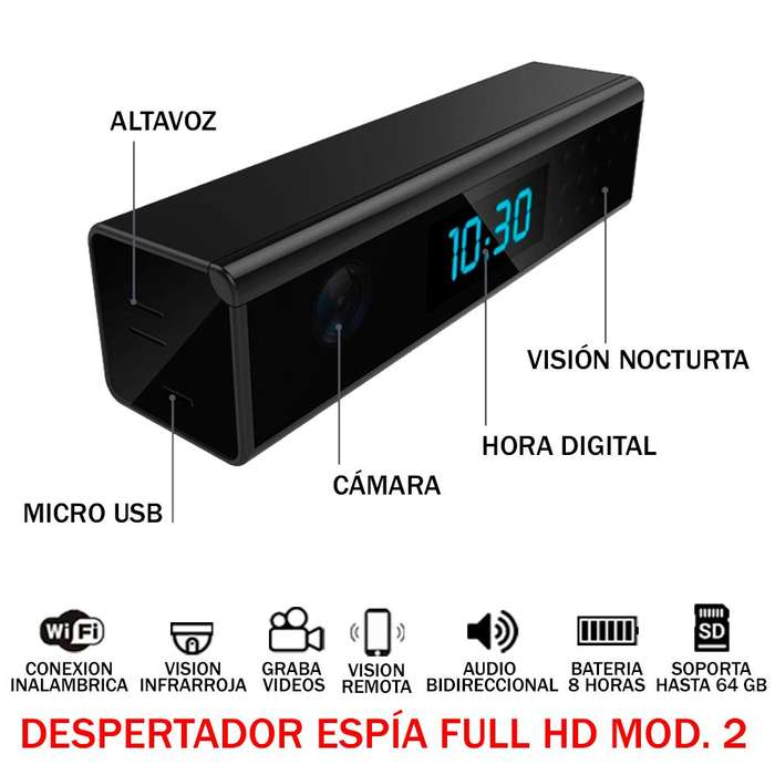 Despertador Espia audio video Oculto Full Hd 1080p Wifi