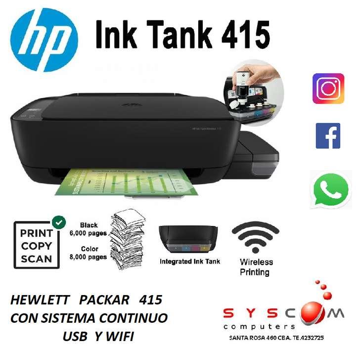 IMPRESORA HP INK TANK 415 SISTEMA CONTINUO DE FABRICA CON USB Y WIFI