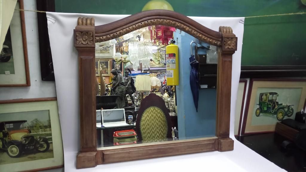 Espejo Colonial Cedro Biselado Antiguo
