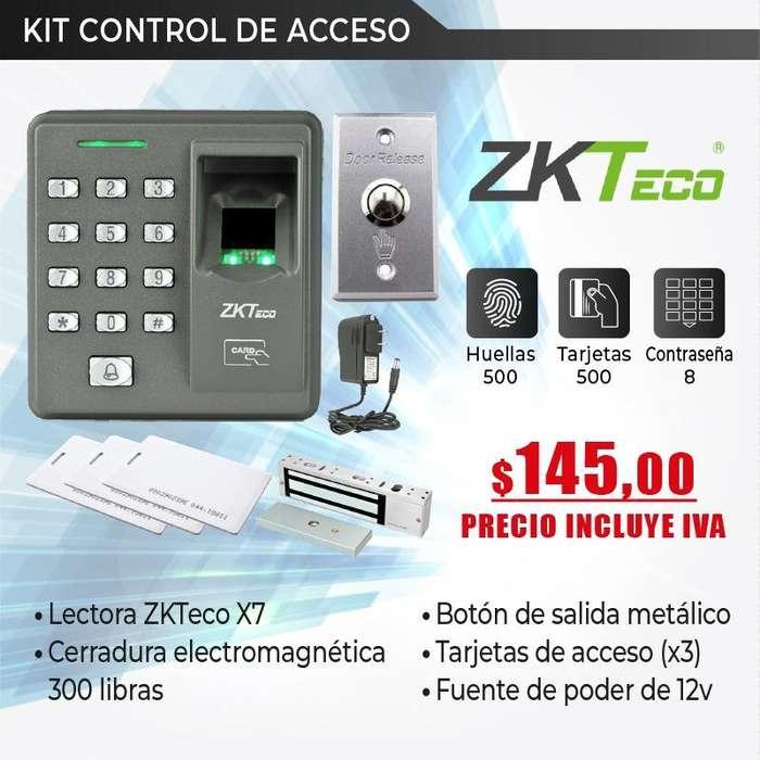 KIT CONTROL DE ACCESO X7 CERRADURA BOTON DE SALIDA FUENTE
