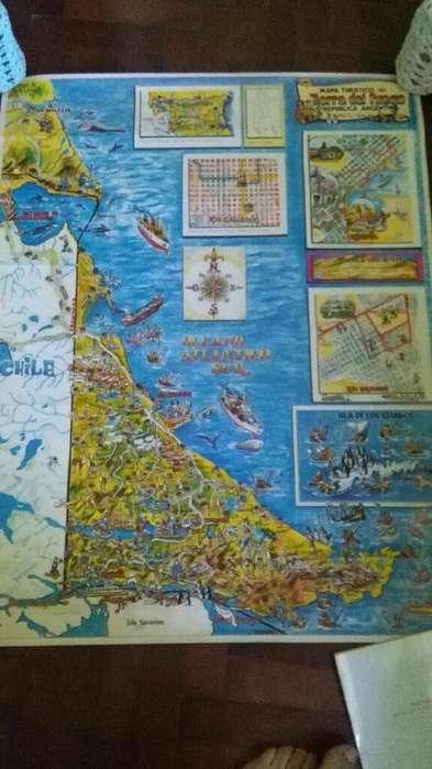 gran Mapa Ilustrado Afiche de Tierra Del Fuego 100 x 60 cm