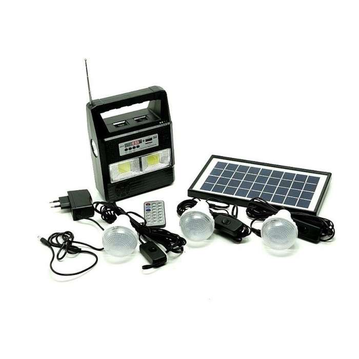 PAGO CONTRA ENTREGA Kit Panel Solar 3 Bombillos <strong>radio</strong> Mp3 Linterna Power Bank