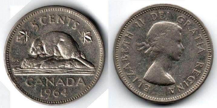 CANADA. MONEDA. 5 CENTS. 1964. KM 57. 78,1 M UNIDADES. ESTADO 7 DE 10. VALOR 1800