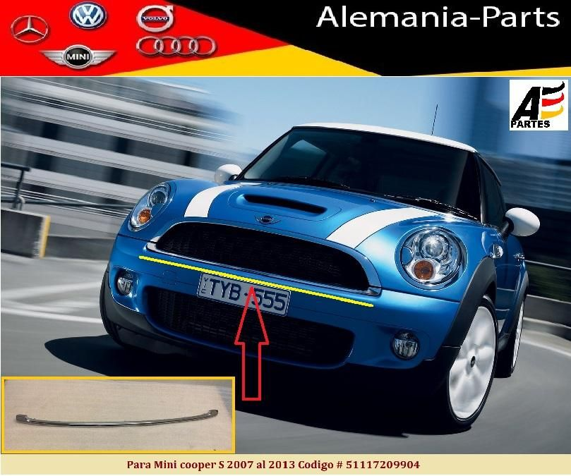 Cromo inferior de persiana para Mini Cooper S 2007, 2008, 2009, 2010, 2011, 2012, 2013
