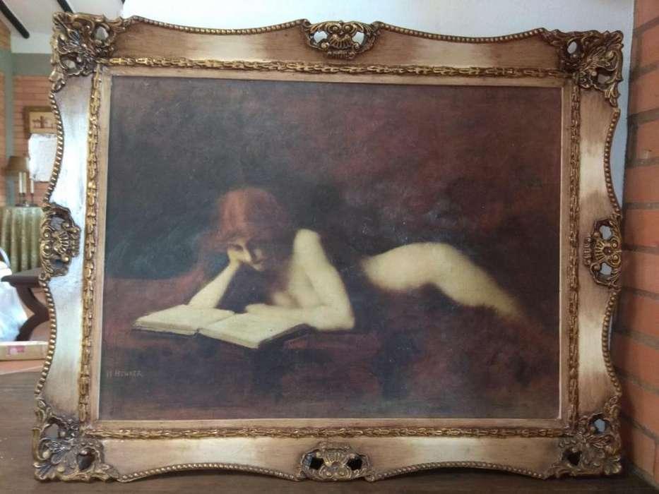 Hermosa Pintura Y Cuadro Oleo sobre Lien