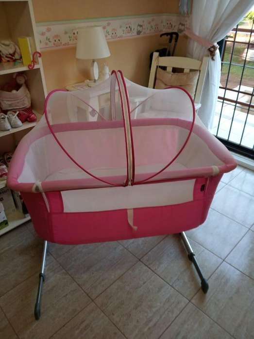 Cuna Colecho Kiddy con Mosquitero - Impecable - Color Rosado