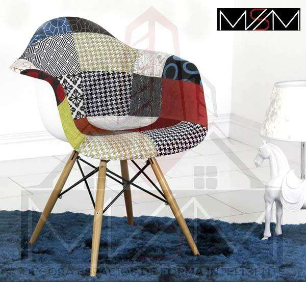 Silla Eames Patch Tapizada Multicolor
