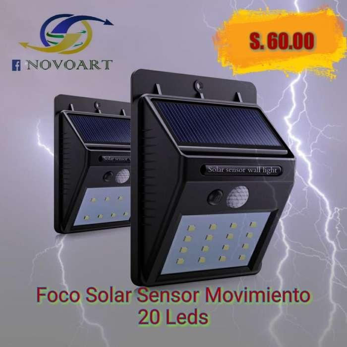 Foco Led Sensor Solar Movimiento de 20 L