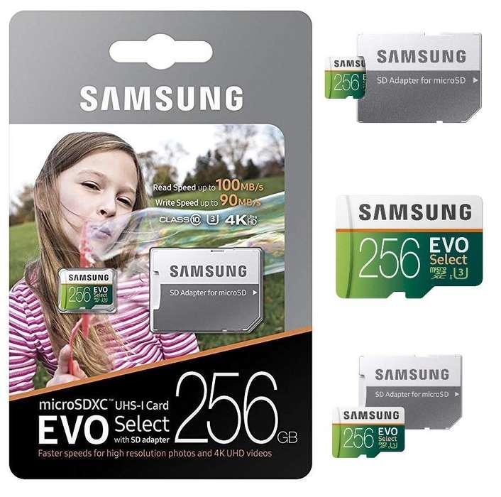 Samsung Micro Sd 64, 128 y 256 Gb Evo Select 4k U3 100mb/s Americano