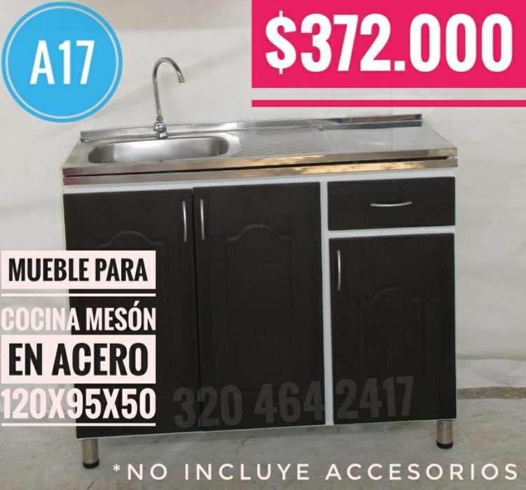 Mueble para Cocina Mesón Acero 120x95x50