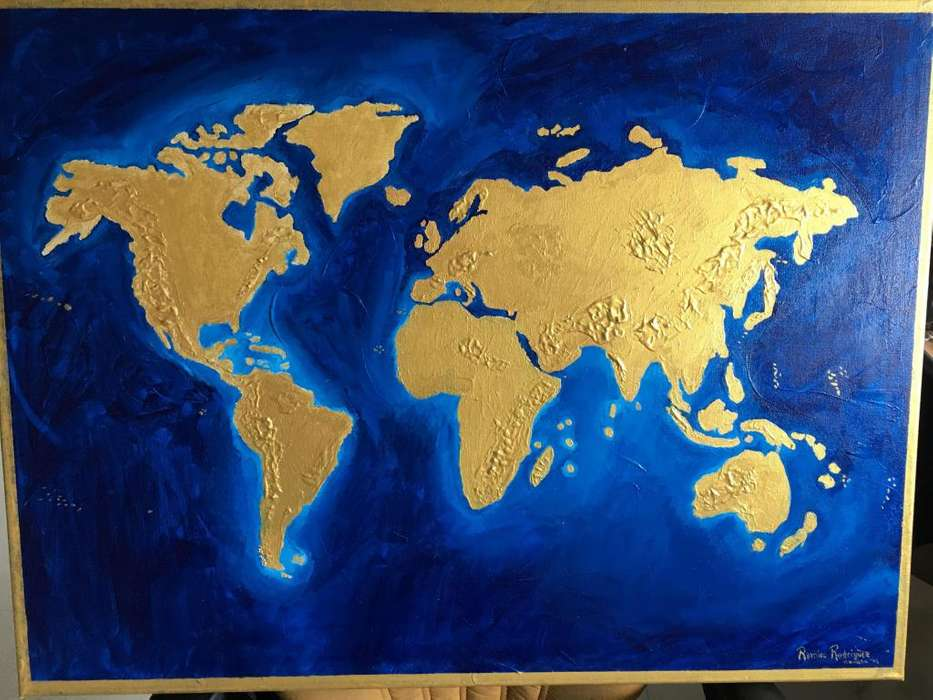 Cuadro original mapa mundial 80x60