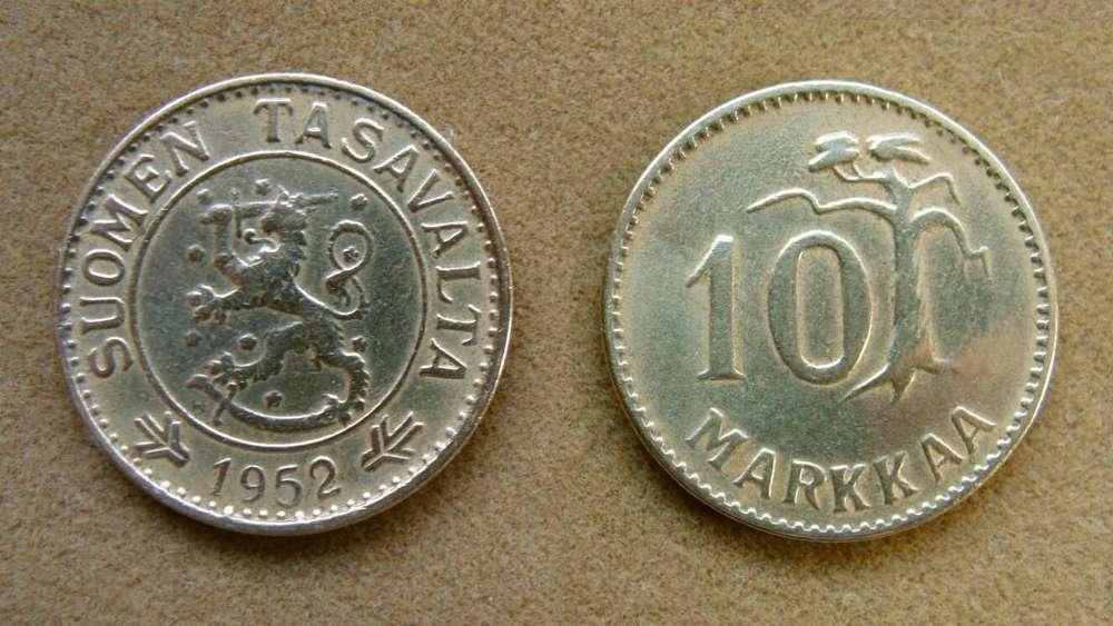 Moneda de 10 marcos Finlandia 1952