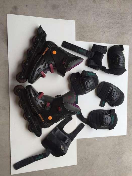 Rollers Rollerblade usados con protecciones 4243
