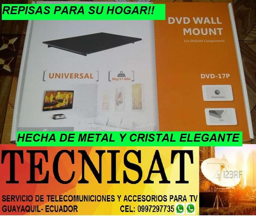REPISA DE PARED SOPORTE DVD HECHA DE ACERO Y CRISTAL.
