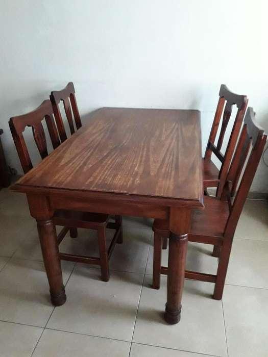 mesa con 6 <strong>silla</strong>s de pino