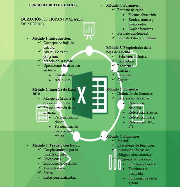 CURSO PERSONALIZDO DE EXCEL BASICO, AVANZADO Y EXCEL VBA (VISUAL BASIC FOR APPLICATION). CONTENIDO DISPONIBLE